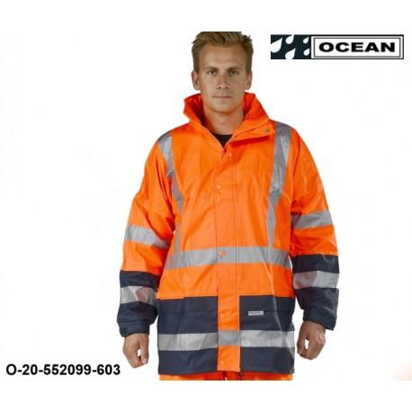 Warnschutz Regenjacke gefüttert PU Comfort Stretch - Ocean high vis warnorange / marine