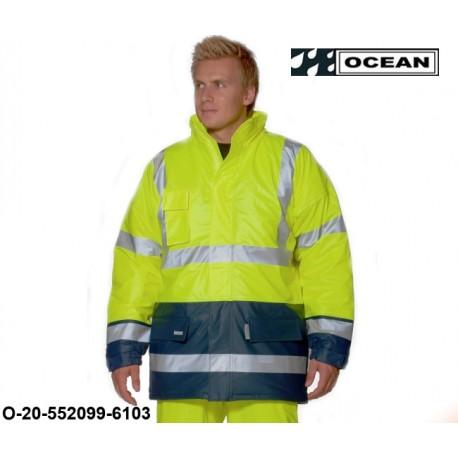 Warnschutz Regenjacke gefüttert PU Comfort Stretch - Ocean high vis gelb / marine 2