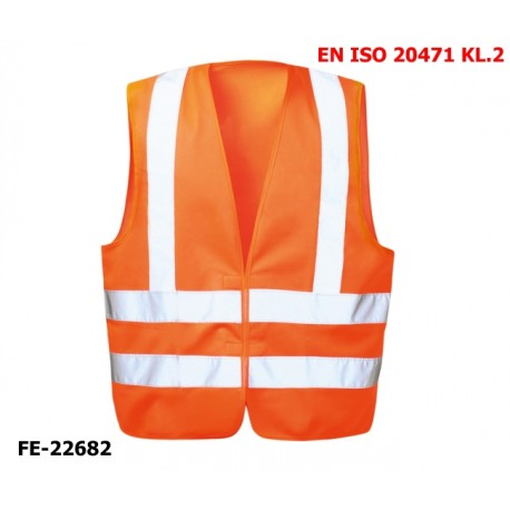 Warnweste aus Polyester mit Klettverschluss EN ISO 20471 Klasse 2 orange