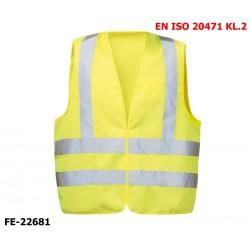 Warnweste aus Polyester gelb mit Klettverschluss EN ISO 20471 Klasse 2