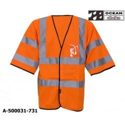 Warnweste mit kurzem Ärmel Ocean Abeko orange Schulterreflex ID-Kartentasche EN 471 Klasse 3