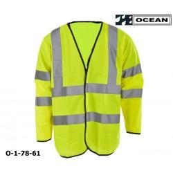 Warnweste mit Ärmel gelb Marke Ocean Schulter- und Ärmelreflex EN ISO 20471 Klasse 3