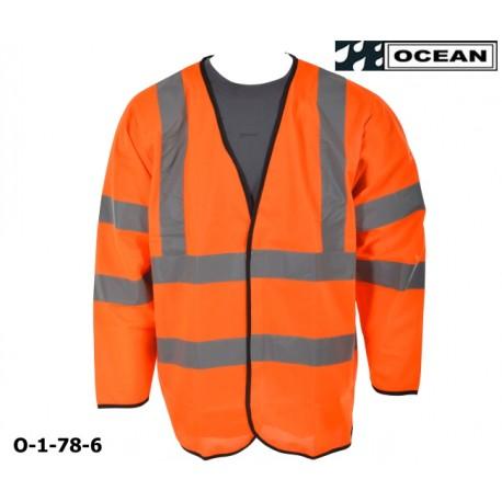 Warnweste mit Ärmel, orange Marke Ocean Schulter- und Ärmelreflex EN ISO 20471 Klasse 3