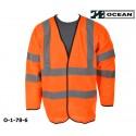 Warnweste Klasse 3 mit Ärmel, orange Marke Ocean Schulter- und Ärmelreflex EN ISO 20471
