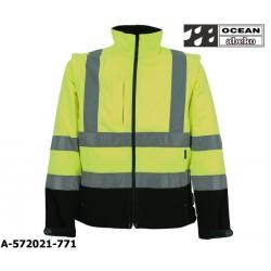 Warnschutz Softshelljacke gelb-schwarz mit abnehmbaren Ärmeln, Ocean Abeko EN ISO 20471 Klasse 3