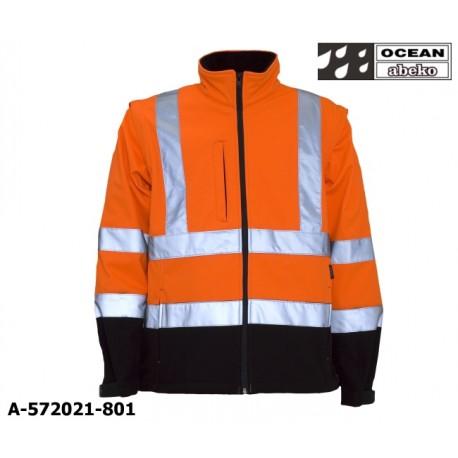 Warnschutz Softshelljacke orange-schwarz mit abnehmbaren Ärmeln, Ocean Abeko EN ISO 20471 Klasse 3