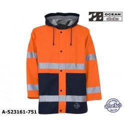 Warnschutz Regenjacke 80 cm mit Kapuze leicht - 170 Gr. PU Atec High-vis orange / marine