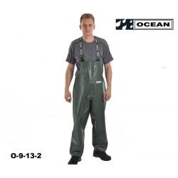 Fischerei-Regen-Latzhose-CLASSIC, schmales Modell grün OFF SHORE & FISHING, OCEAN EN 343, EN14116