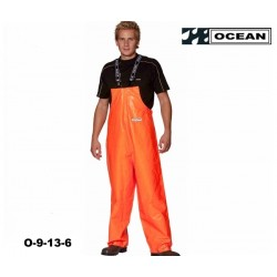 Fischerei-Regen-Latzhose-CLASSIC, schmales Modell orange OFF SHORE & FISHING, OCEAN EN 343, EN14116