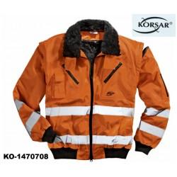 Warnschutz Pilotenjacke 3-in-1 Jacke Korsar Kragen und Ärmel abtrennbar EN 471 warnorange