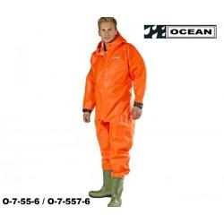 Ganzkörper Schutzanzug Heavy Duty fl.orange OCEAN OFF SHORE & FISHING angeschweißte Stiefel!