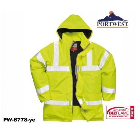 Bizflame™ Regen-Warnschutz Jacke PORTWEST® gelb antistatisch, flammhemmend