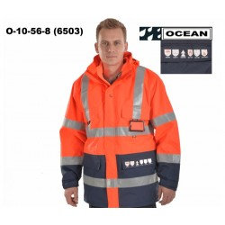 Warnschutz Parka Jacke rot-marine High Vis Multinorm, Wind- & Wasserdicht, 3 in 1, flammhemmend