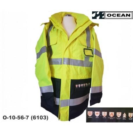 Schweißerschutz Warnschutz Parka Jacke High Vis Multinorm Protect Wind- & Wasserdicht, flammhemmend gelb-marine