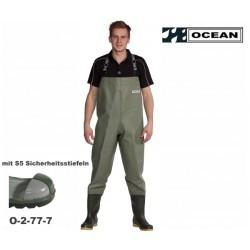 Wathose OCEAN Classic 2-77 mit S5 Sicherheitsstiefeln, helles olive, 600 gr. /qm PVC