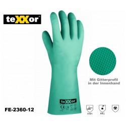 Chemikalien-Schutzhandschuhe Texxor® Nitil grün PSA Kategorie 3