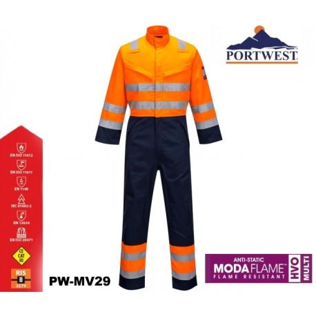 Warnschutz Overall MODAFLAME™ RIS PORTWEST® marine/orange Zertifiziert nach GO / RT