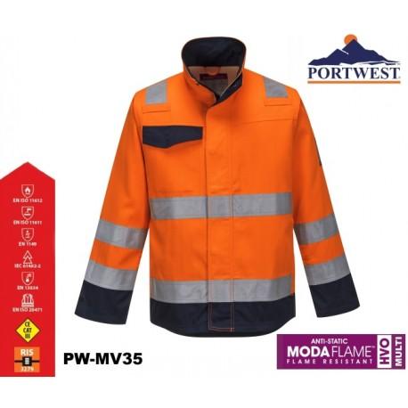 Flammhemmende Warnschutz-Jacke MODAFLAME™ RIS PORTWEST® marine/orange Zertifiziert nach GO / RT