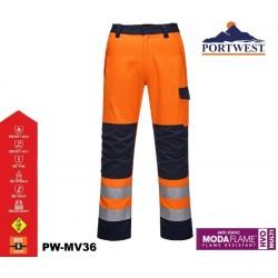 Flammhemmende Warnschutz Bund-Hose MODAFLAME™ RIS PORTWEST® marine/orange Zertifiziert nach GO / RT