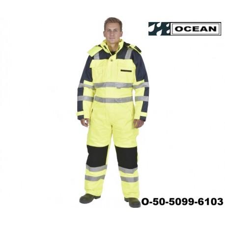 Warnschutz Thermo-Overall HIGH-VIS - OCEAN, gelb - marine, 3M Reflexstreifen, EN 471-3