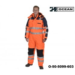 Warnschutz Thermo-Overall HIGH-VIS - OCEAN, Orange - marine, 3M Reflexstreifen, EN 471-3