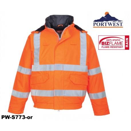 Regen- Warnschutz Pilotenjacke gefüttert PORTWEST® Bizflame™ GO/RT Norm orange