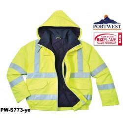 Regen- Warnschutz Pilotenjacke gefüttert PORTWEST® Bizflame™ warngelb