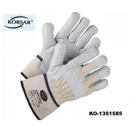 Arbeitsschutzhandschuhe Leder, 12 Paar!, KORSAR TM2 / EN 388 Kat.II, Kräftiges-Rindsnarbenleder