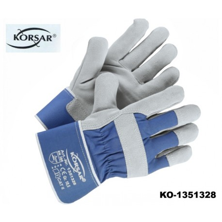 Schutzhandschuhe Leder 120 Paar KORSAR Trucker grau blau Rindskernspaltleder