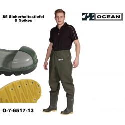 Sicherheits-Hüft-Wathose OCEAN de Luxe 7-6517 mit S5 Sicherheitsstiefeln & Spikes