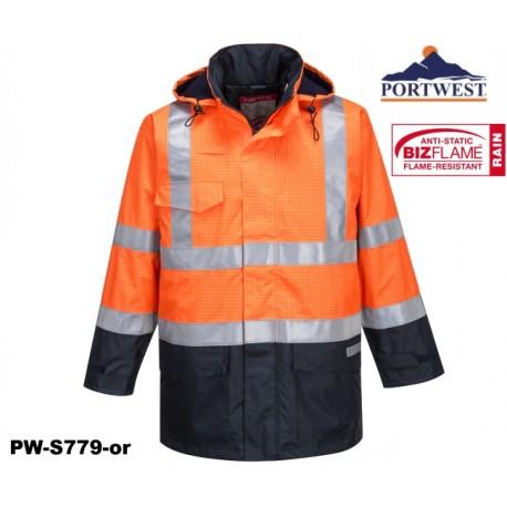 Regen Warnschutz Multinorm Jacke Bizflame™ GO/RT Norm orange marine