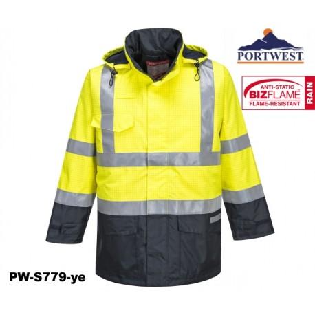 Regen Warnschutz Multinorm Jacke Bizflame™ gelb marine