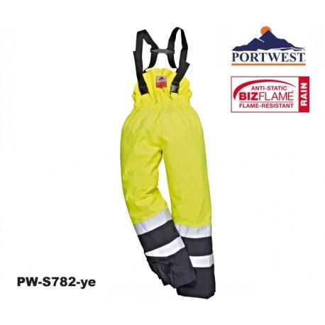 Regen- Warnschutz Multi-Norm Hose Bizflame™ gelb/marine nah