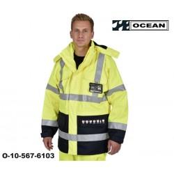 Schweißerschutz Warnschutz Parka Jacke flammhemmend gelb-marine