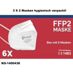 FFP2 NR Schutzmaske mit Ohrschlaufen - Box mit 6 Stück EN149-2001 + A1 2009 CE 1463