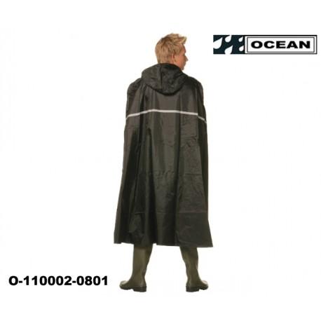 Ocean Regenponcho - Radfahrer-Poncho schwarz mit Reflexstreifen