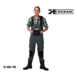 Neoprenwathose mit Gummi-Formsohle, OCEAN, Fronttasche, Knieverstärkung