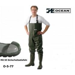 Wathose Original OCEAN mit S5 Sicherheitsstiefeln - Stahlkappe und Stahlzwischensohle