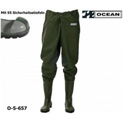 Hüftwathose Original Ocean mit S5 Sicherheitsstiefeln Stahlkappe und Stahlzwischensohle