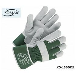 Schutzhandschuhe Leder 120 Paar KORSAR Trucker grau grün Rindskernspaltleder