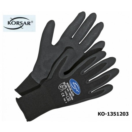 Schutzhandschuhe,Montagehandschuhe,12 Paar, Kori-Black, Korsar® Nylon Nitril, verschleißfest