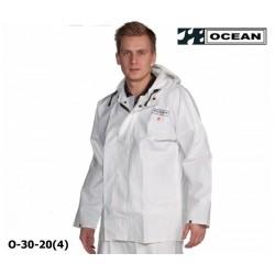 OCEAN Fischerjacke, Regenbekleidung, Jacke, 325g PVC weiß, Landwirtschaft und Fischerei