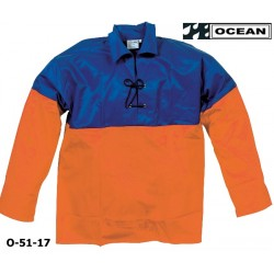 Sommer Fischerbluse, OCEAN 51-17 OFF SHORE & FISHING, Smock zünftig blau-orange