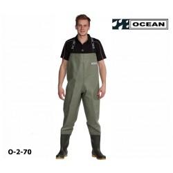Wathose OCEAN Classic 2-70, helles olive, zum fischen, angeln, waten 600 gr. PVC