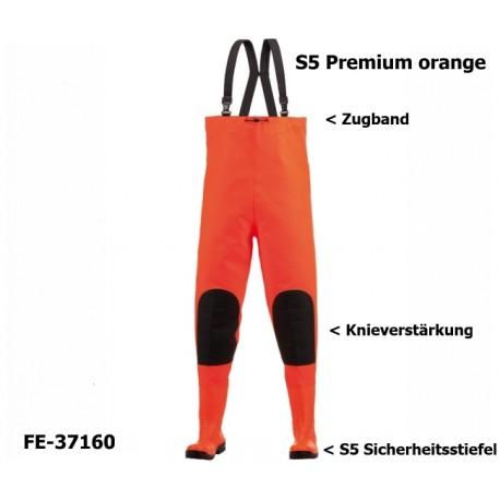 Premium Wathose ORANGE mit S5 Sicherheitsstiefeln, für Katastrophenschutz, Kanalarbeiten, fischerei stiefel