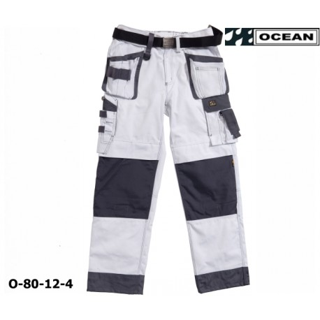 OCEAN Thor, Bundhosen, weiße Arbeitshose mit Gürtel und Telefontasche aussen!