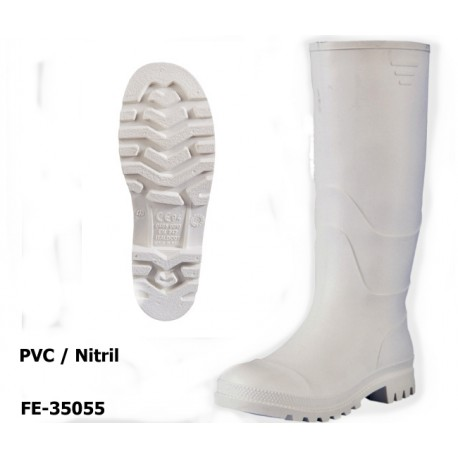PVC / Nitril Stiefel Metzger weiß - preisstarker Berufsstiefel ab Größe 36! EN ISO 20347 O4 SRA