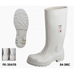 PVC / Nitril S4 Sicherheitsstiefel weiß - Reflexpunkt an der Ferse! EN ISO 20345 S4 SRC ab Größe 37