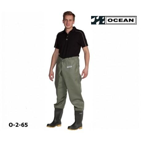 Hüftwathose Classic, OCEAN 2-65 helles olive zum fischen, angeln, waten 600 gr. PVC
