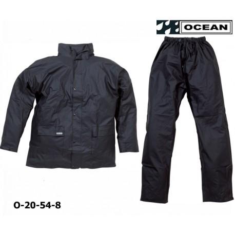 Regenanzug aus PU Comfort Stretch - Ocean 20-54 schwarz Jacke und Hose aus 210gr PU